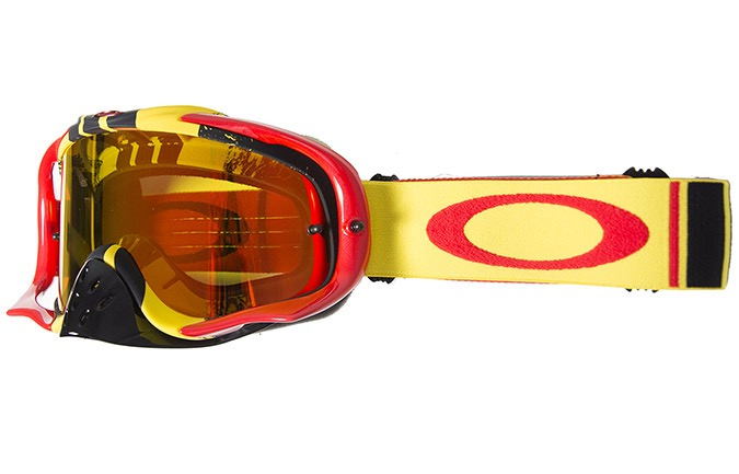 MASQUE OAKLEY CROWBAR MX PINNED RACE JAUNE ROUGE IRID FIRE + CLEAR