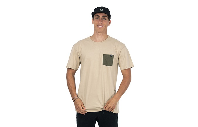 T-SHIRT BASIC SAND / GREEN
