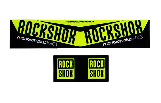KIT STICKER ROCK SHOX MONARCH PLUS DEBONAIR 2016 JAUNE FLUO