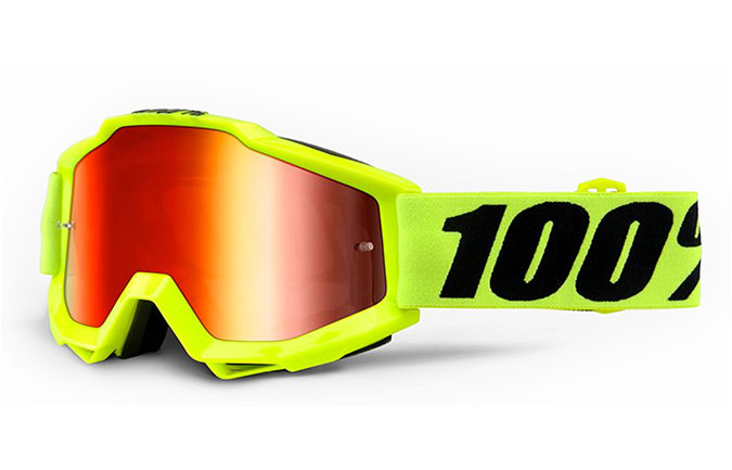 MASQUE 100% ACCURI  FLUO YELLOW - RED MIRROR LENS
