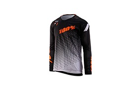 MAILLOT MANCHES LONGUES 100% KID R-CORE SUPRA DH BLACK/GREY