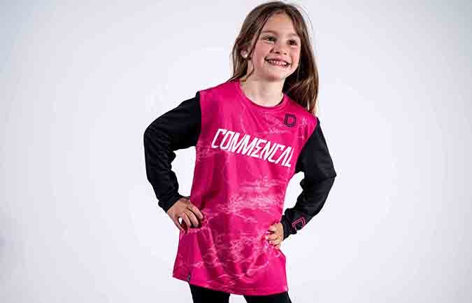 MAILLOT KID COMMENCAL PERSONNALISABLE ROSE
